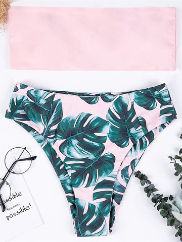 Swimwear Women Swimsuit High Waist Pink Leaves Print Bandage Bikini