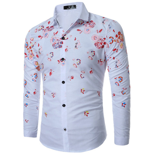 Designer Shirts for Men Casual Flowers Printing Slim Band Collar