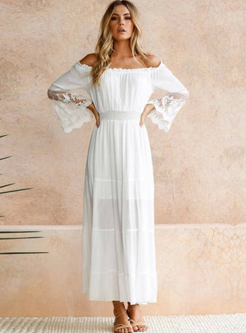 Sexy Off Shoulder Lace Boho Cotton Maxi Dress