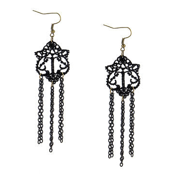 Cheap Black Lace and Tassel Drop Earrings