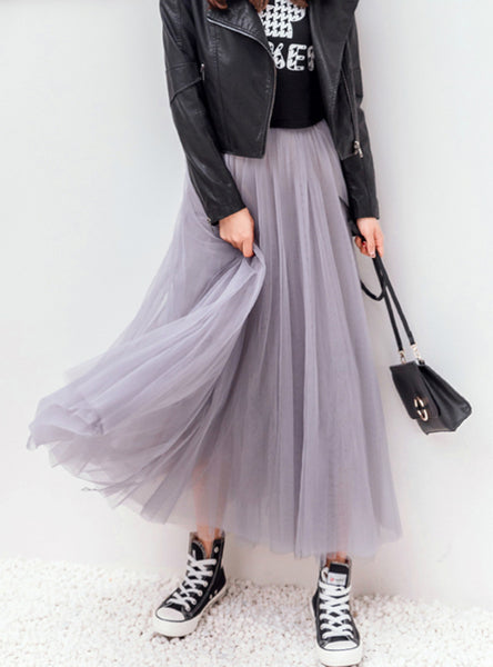 Vintage Skirts Womens Elastic High Waist Tulle Mesh Skirt