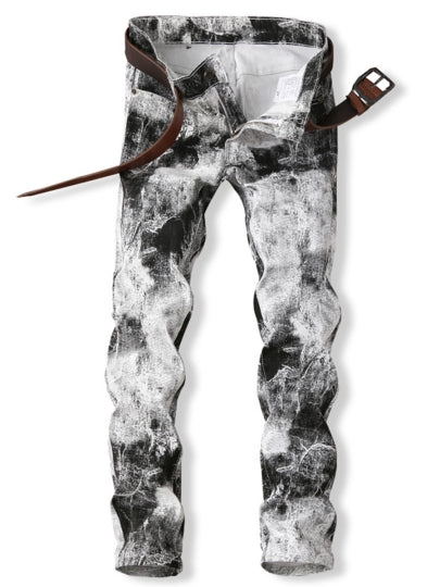 Men's Vogue Jeans White Printed Elastic Slim Fit
