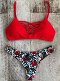 Printed Spaghetti Straps Lace Up Bikini Set