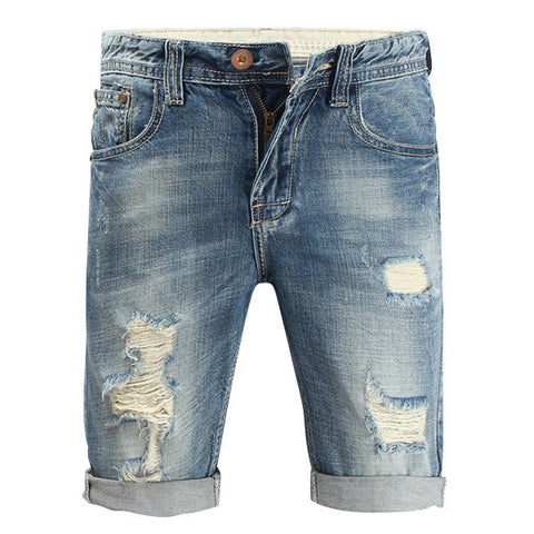 Jeans Stone Washed Denim Shorts Summer Overknee Stylish Worn Hole