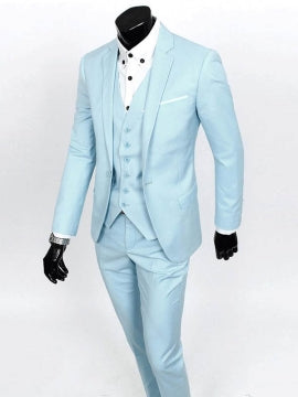 Formal Men's Three Pieces Suit with Front Collar