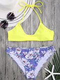 Halter Bra with Floral Swim Bottoms
