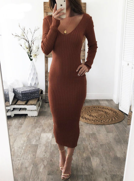Long Sleeve Sexy Midi Dresses Elastic Slim Party Dress