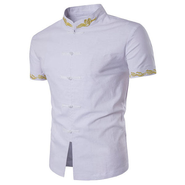 Designer Shirts for Men Fashion Stand Collar Embroidery Vintage Style Linen
