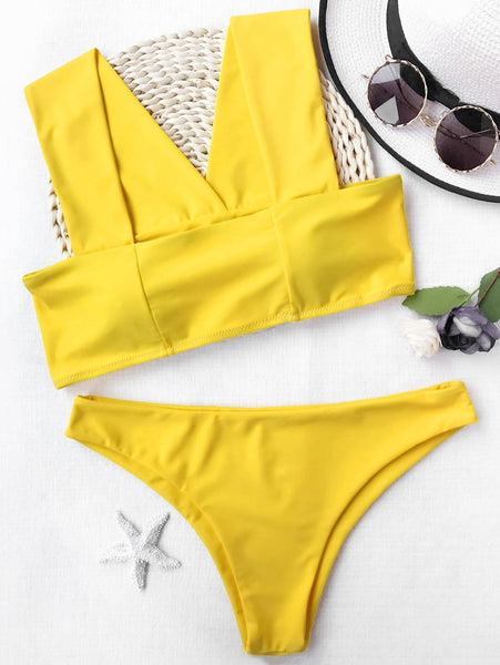 Wide Straps Padded Square Cut Bikini Set