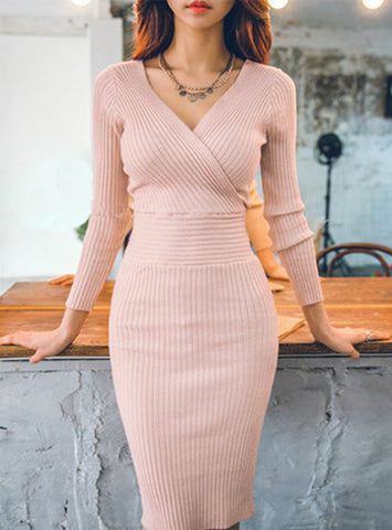 Women Knitted Cotton Skinny Sweater Dress V-neck Slim Bodycon Dress