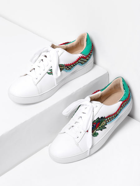 White Dragon Embroidery Lace Up Sneakers