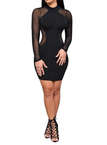 Long Sleeve Slim Black White Dress Bodycon Perspective Pencil Dress