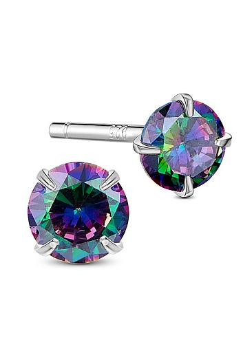 Hot Sale Colorful AAA Zircon Sterling Silver Four-Pronged Ear Studs