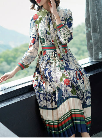Elegant Long Sleeve Floral Printed Loose Pleated