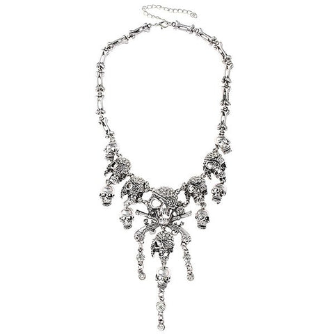 Cheap Vintage Rhinestone Skull Bone Necklace