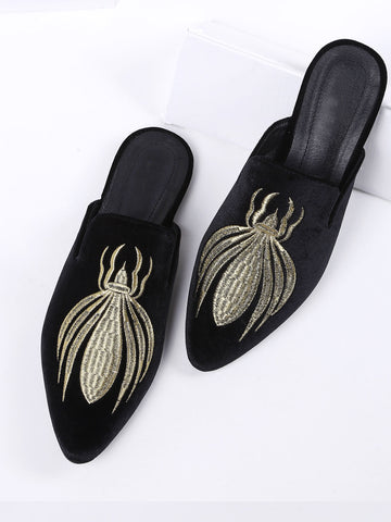 Cheap Black Embroidery Point Toe Velvet Flat Slippers