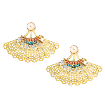 Hollow Out Artificial Stone Stud Earrings Gold Plated Fan-shaped