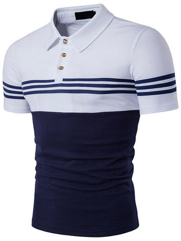 Cheap Polo Collar Color Block Men T-Shirt