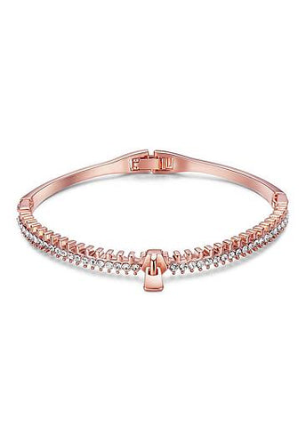 Simple Micro Pave AAA Zirconia Zipper, Rose GoldGold Plated Bangle