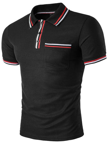 Cheap Polo Collar Men Striped Trim T-Shirt