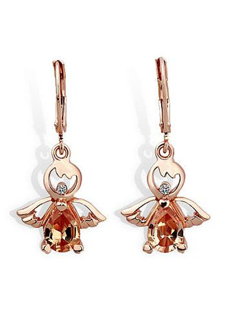 Fashion Earrings with AAA Zircon Angel Wings Trendy Rose Gold Plated Dangle