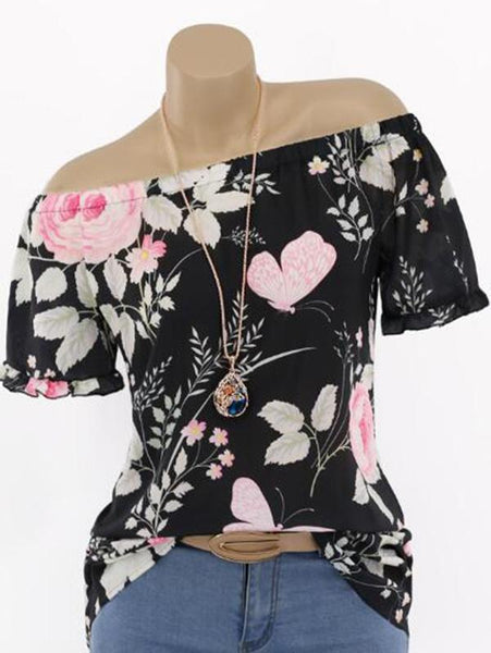 Unique Printed One-shoulder Blouse