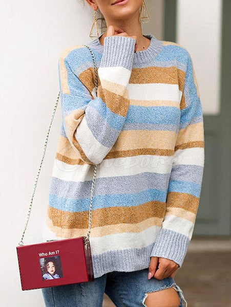 Luxurious Flocked Striped Loose Sweater