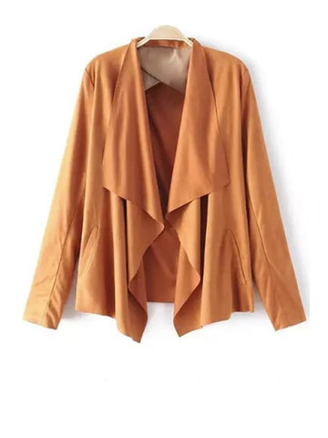 Trendy Faux Suede Turn Down Collar Long Sleeve Blazer