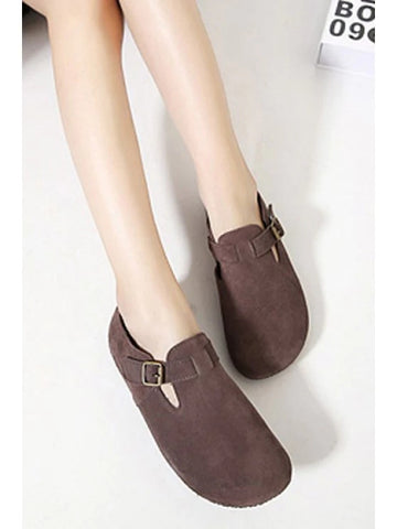 Trendy Buckle Dark Color Round Toe Flat Shoes