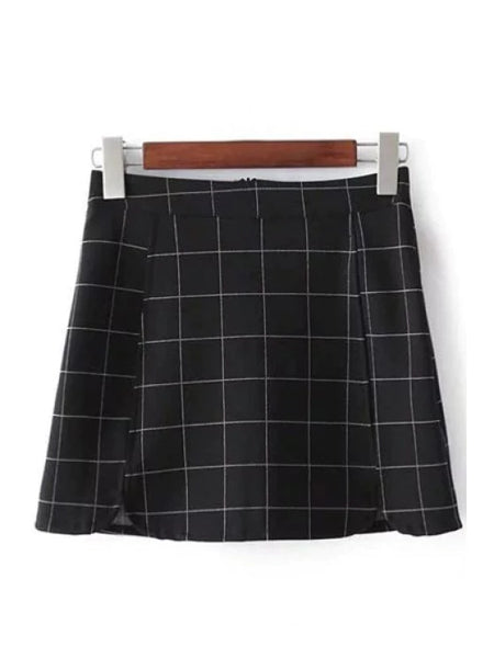 Fashion Plaid Print High Waist Mini Skirt