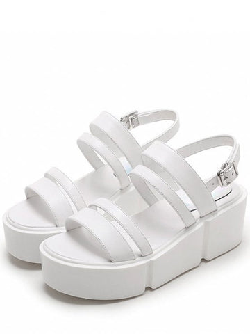 Cute Platform Solid Color Genuine Leather Sandals