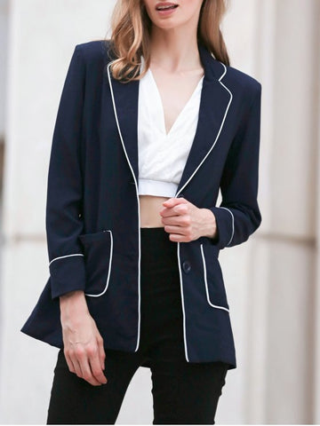 Trendy Contrasting Piped Blazer
