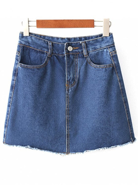 Stunning Solid Color High Waist A-Line Denim Skirt
