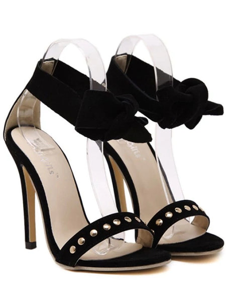 Trendy Bow Black Stiletto Heel Sandals