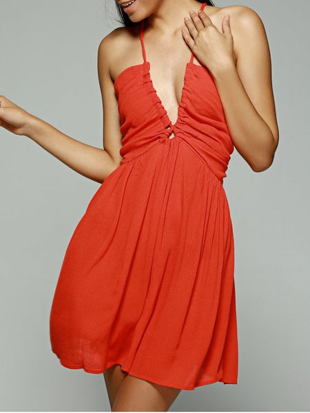 Gorgeous Orange Red Plunging Neck Sleeveless Chiffon Dress