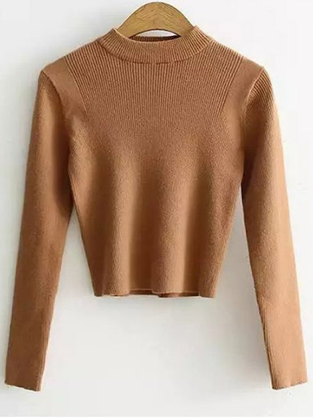 Gorgeous Mock Neck Cropped Pullover Sweater