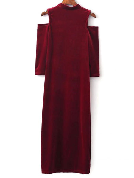Fun Cold Shoulder Velour Dress