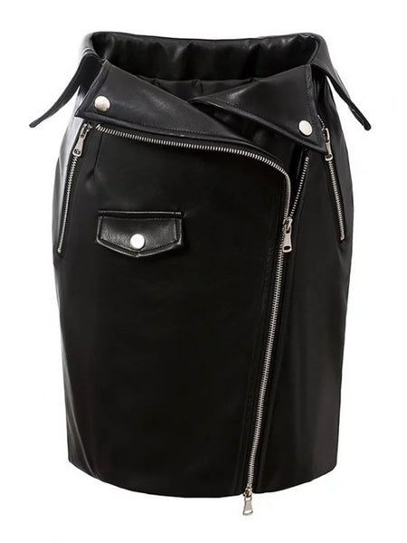 Pretty PU Leather Zippered Bodycon Skirt