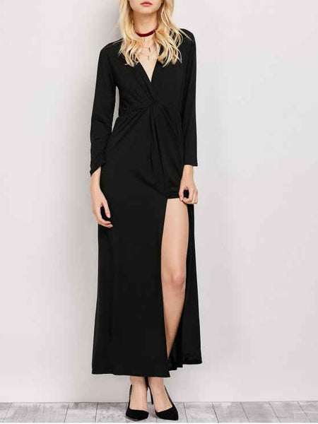 Trendy Long Sleeve Maxi Plunge Dress with Slit