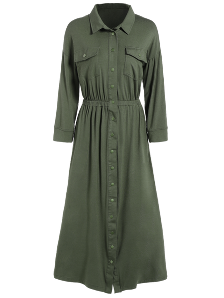 Fashion Midi Shirt Military Dress With Pockets