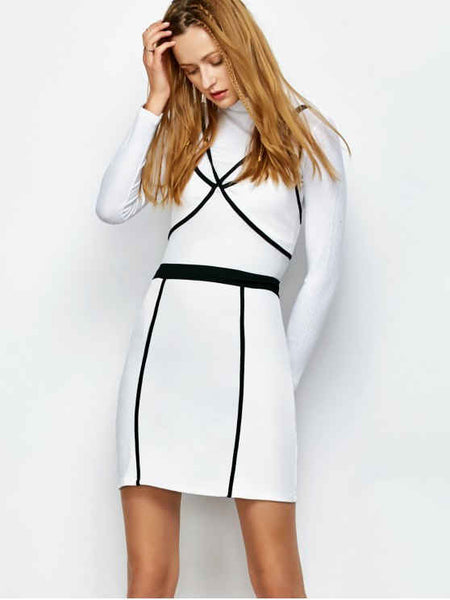 Fashion Piping Bodycon Bandage Slip Dress
