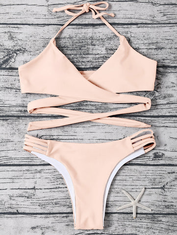 Halter Cut Out Wrap Bikini Set
