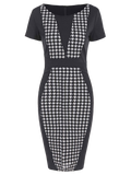 Gorgeous Houndstooth Pencil Dress with Sleeves