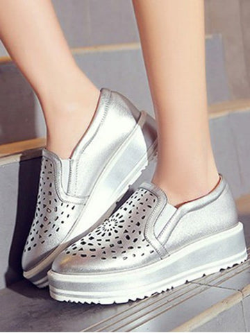 Trendy Hollow Out Slip-On Platform Shoes