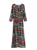 Trendy Semi Sheer Button Front Maxi Dress