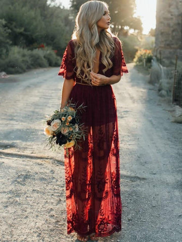 Sexy Lace Red Short Sleeve Deep V Neck Side Split Maxi Dress