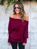 Classic Batwing Sleeves Off-the-shoulder Sweater Tops