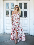 Printed Spaghetti-neck V-neck Maxi Dress