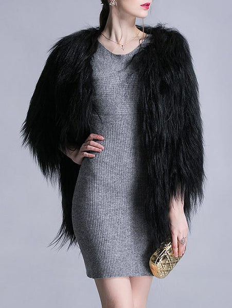 Impressive Black Faux Fur Coat