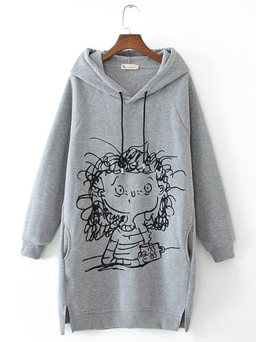 Long Sleeve Splited Cartoon Girl Print Hoodie For Women